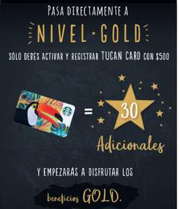 Starbucks: Alcanza el nivel gold activando Toucan Card con $500