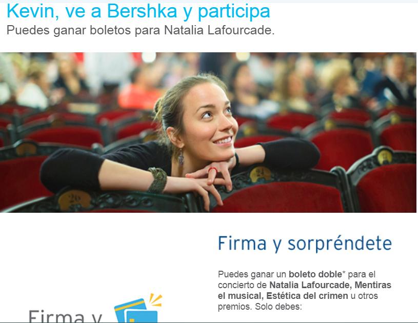 Bershka Madero: Boletos Gratis Natalia Lafourcade, Mentiras el Musical o la Estetica del Crimenen compra mayor a $1,200 con Banamex