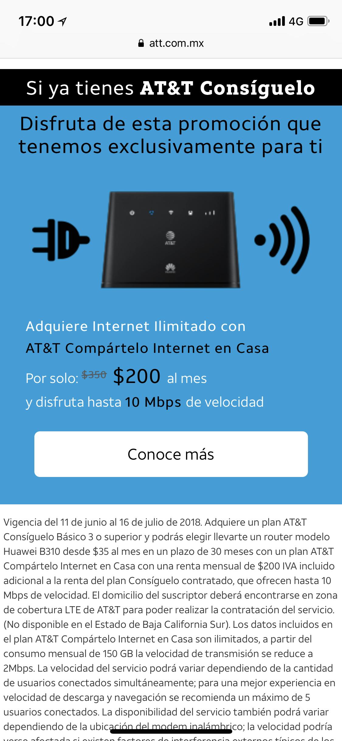 AT&T: Internet en casa $200 en lugar de $350 con AT&T Consíguelo