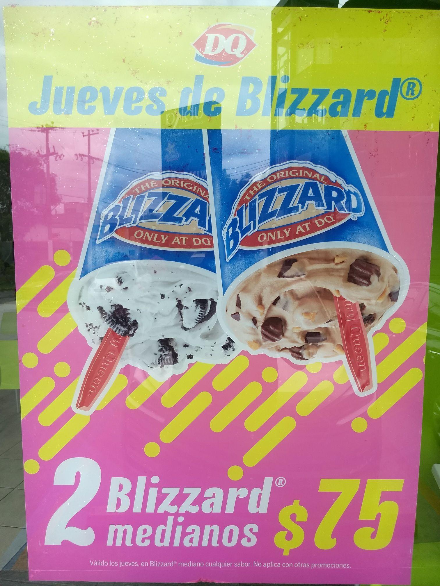 Dairy Queen: Jueves de 2 blizzards® medianos de cualquier sabor por $75