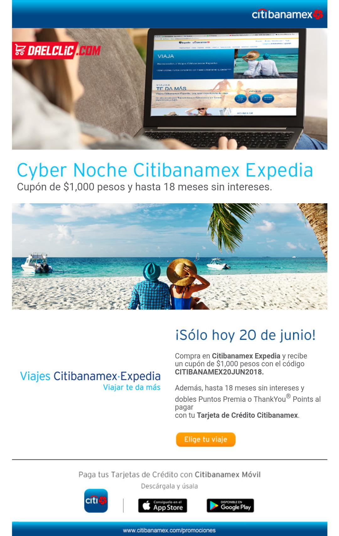 Expedia: $1000 de descuento pagando con Citibanamex-Expedia solo hoy!!