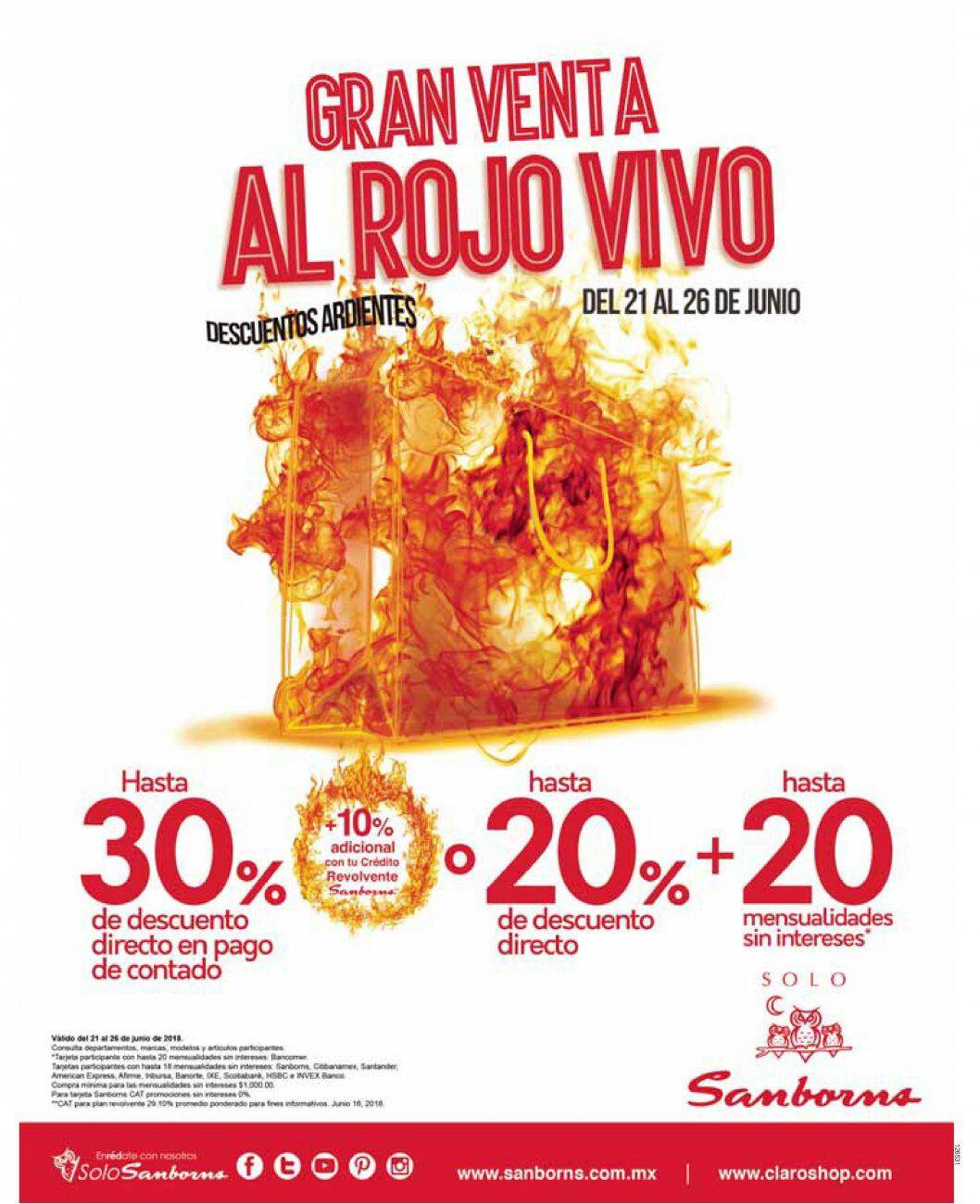 Sanborns: Gran Venta al Rojo Vivo: Hasta 30% desc. directo en pago de contado + 10% adicional con crédito revolvente Saborns ó hasta 20% desc. directo + hasta 20 MSI