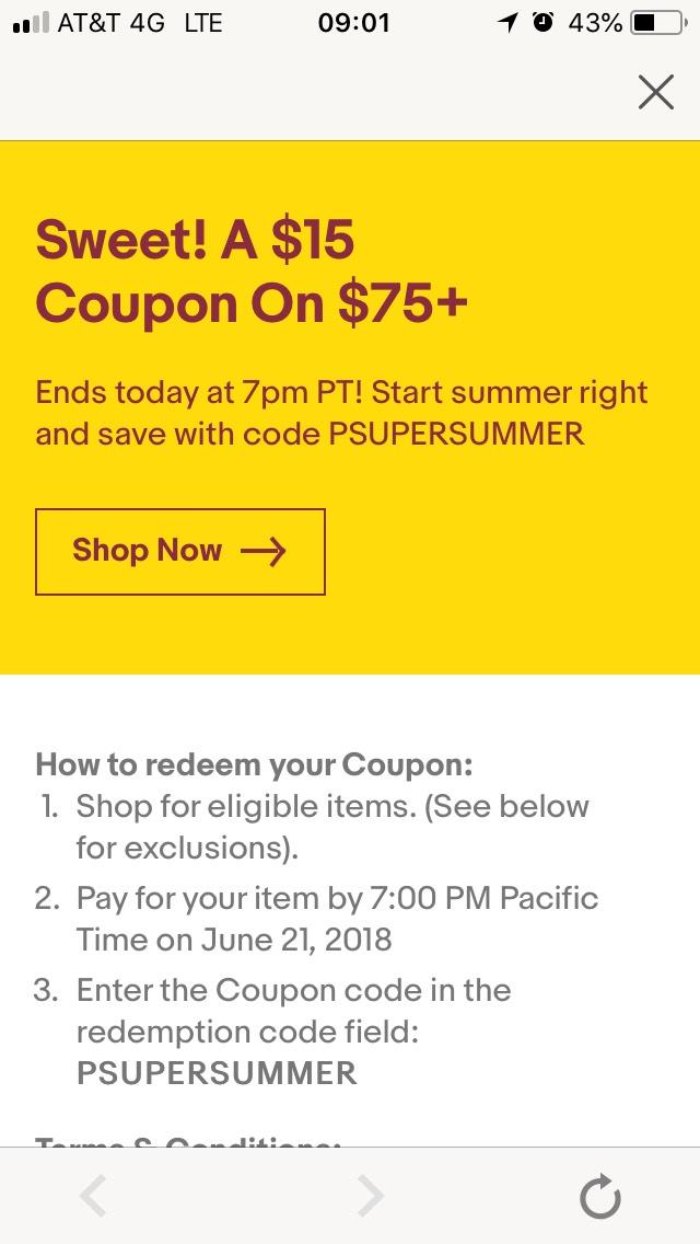 Ebay: Cupón de $15usd descuento en compras mayores a $75 en toda la tienda