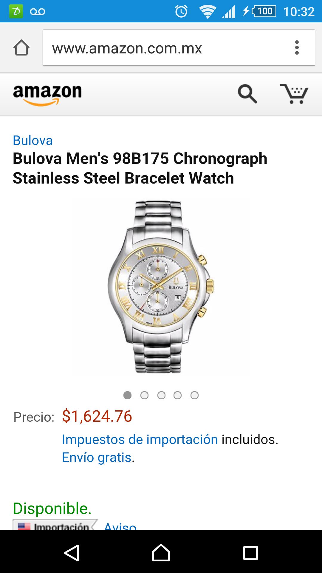Amazon: Reloj Bulova 98B175 $1,625