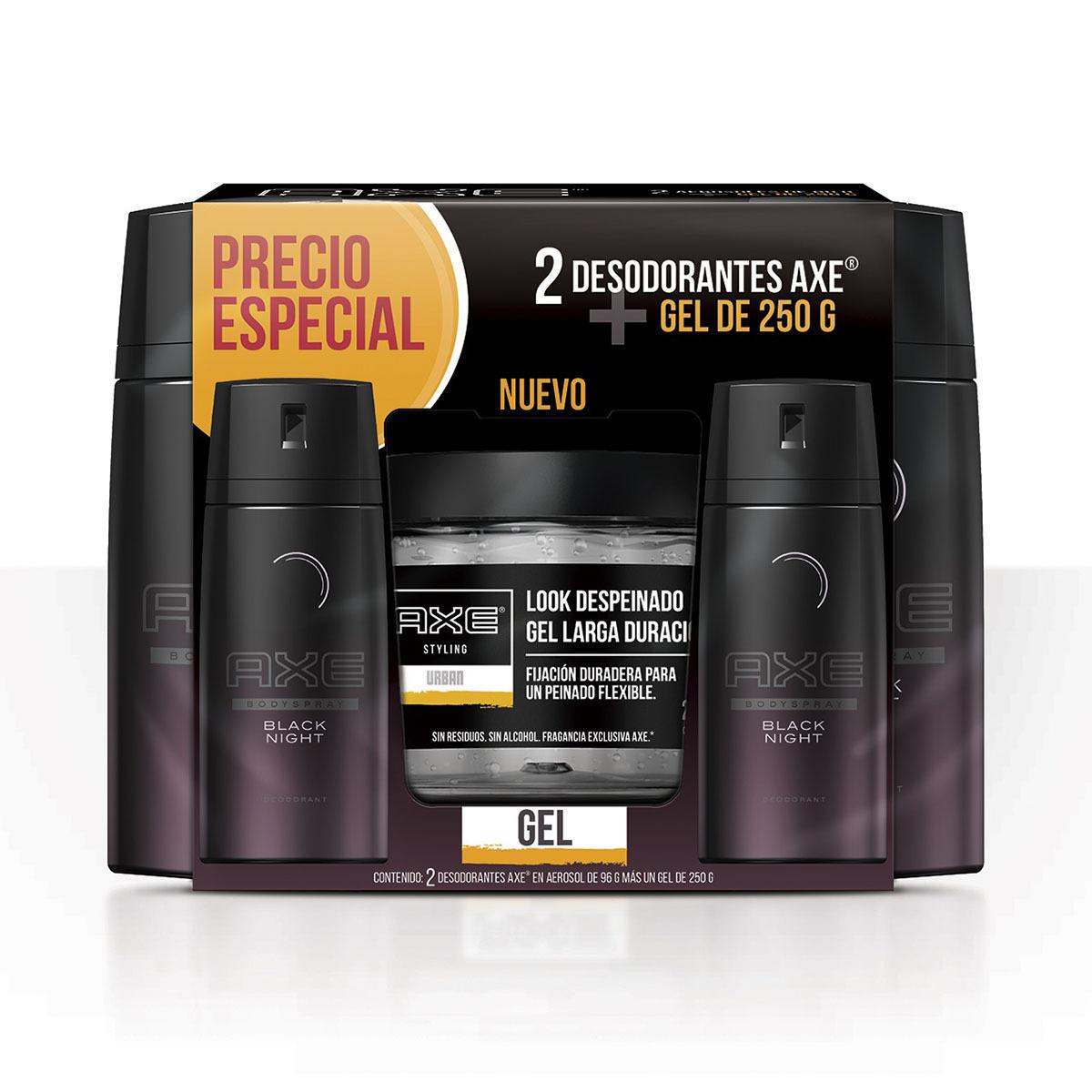 Chedraui: Desodorante + Gel Axe Aerosol Black Night Hombre 96 Gr