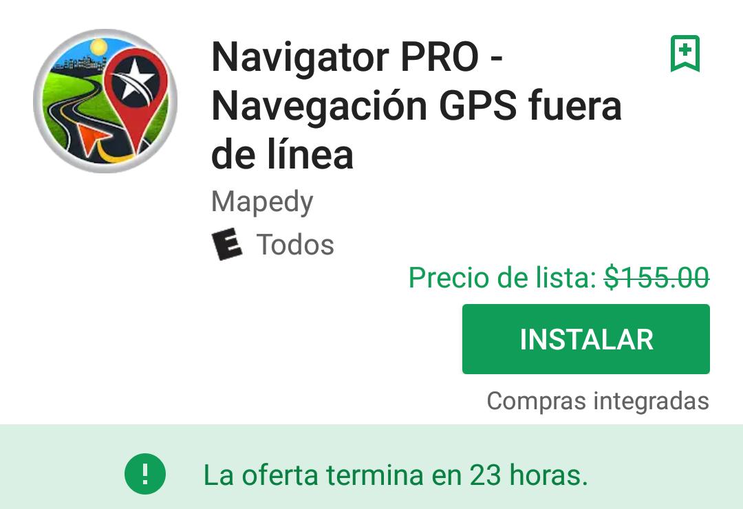Google Play: Navigator PRO - Navegación GPS Fuera de Línea