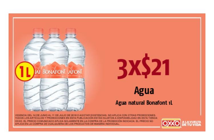 Oxxo: 3x$21 Agua natural Bonafont 1 Litro