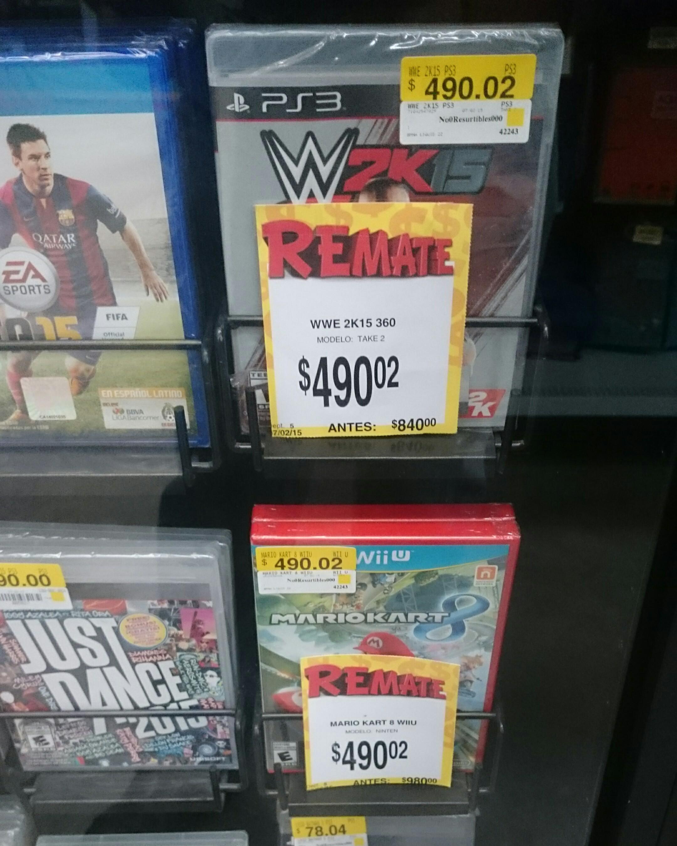 Bodega Aurrerá: Mario Kart 8 para Wii U o WWE 2K2015 para PS3 en $490.02