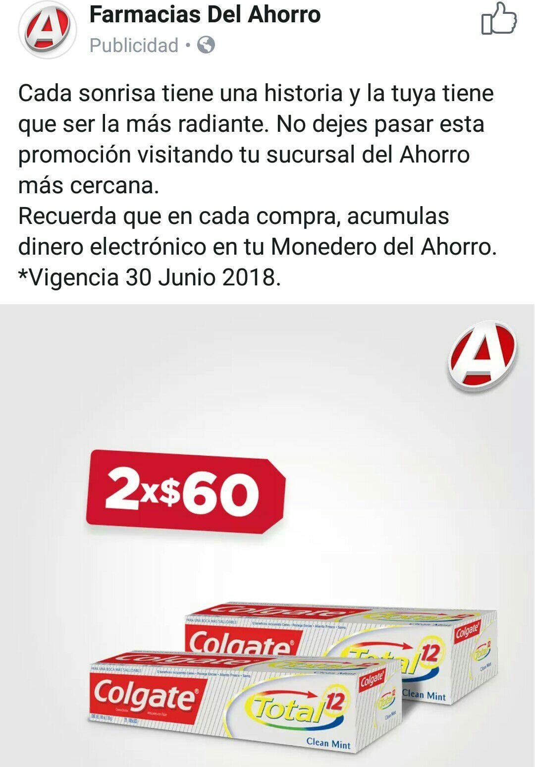 Farmacias del Ahorro: 2 pastas dentales Colgate Total 12 Clean  Mint x $60