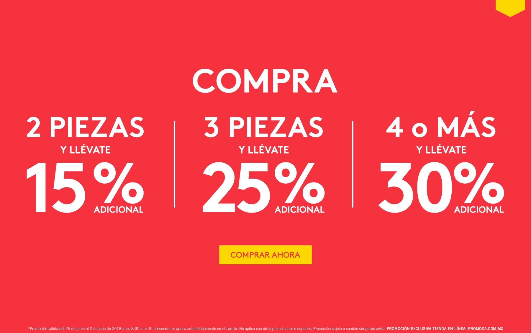 Promoda Online: 2 piezas = 15% desc... 3 piezas = 25% desc... 4 o más piezas = 30% desc.