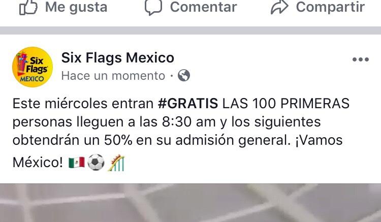 SixFlags: Entrada Gratis 27 junio (primeras 100 personas en llegar) y los siguientes 50% descuento