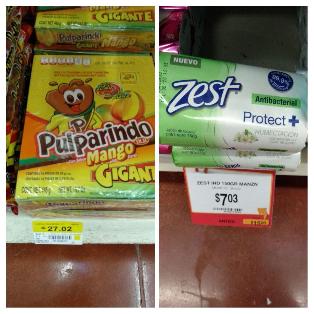 Walmart Tuxtla pte: pulparindo mango gigante 27.02 y jabón Zest manzanilla $7.03
