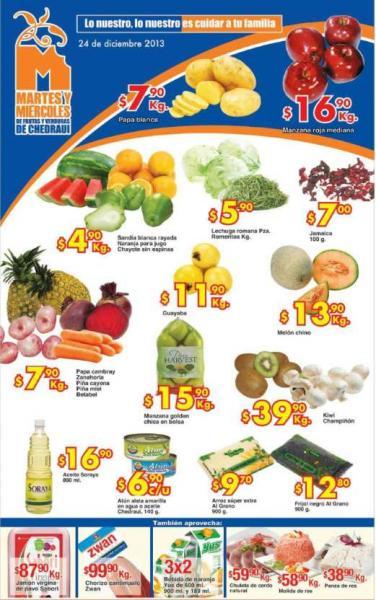 Ofertas de frutas y verduras en Chedraui 24 y 25 de diciembre: