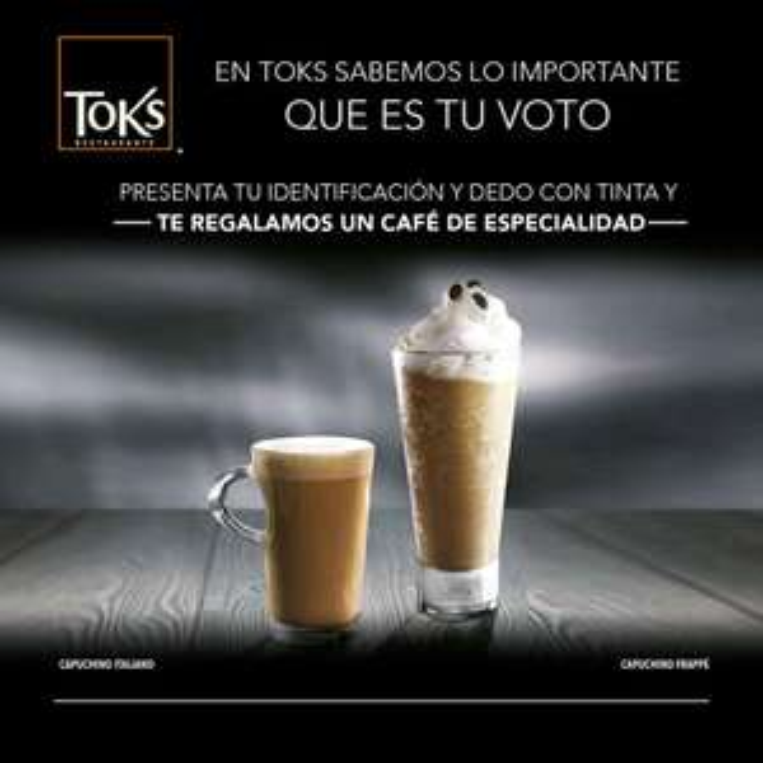 Toks: GRATIS un café de especialidad con dedo entintado y credencial de elector