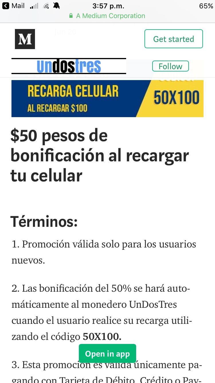Undostres: Cupón de $50 pesos en monedero (Nuevos usuarios)