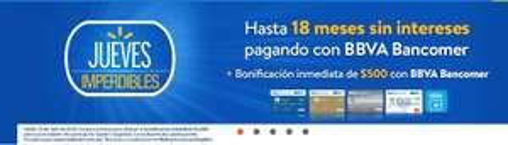 Walmart en línea: $500 de descuento al comprar con Tarjeta de Crédito BBVA Bancomer, compra mínima $5,000