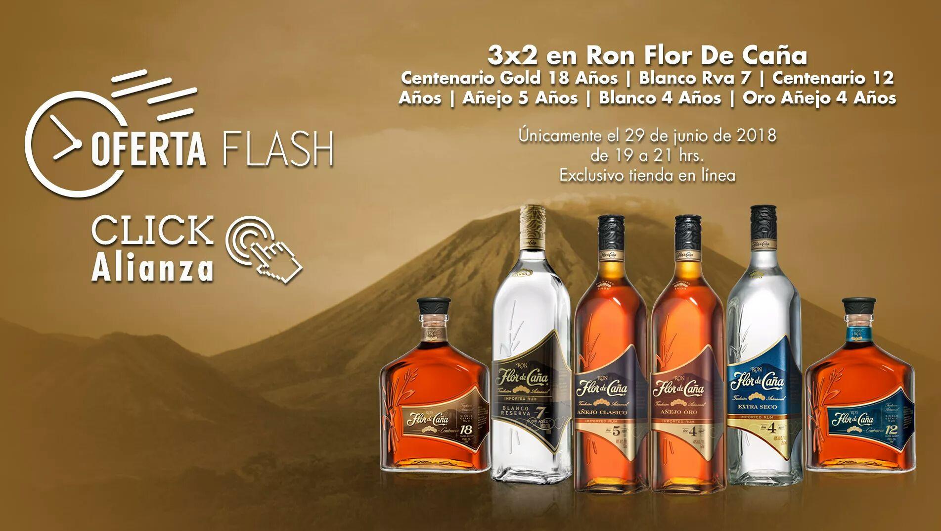 Bodegas Alianza: 3 x 2 en Ron Flor de Caña sólo hoy hasta las 9 pm en tienda en línea