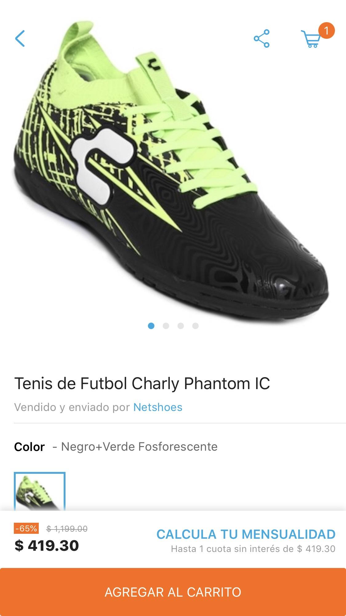 Netshoes: Tenis de Futbol Charly Phantom IC - Negro y Verde Fosforescente