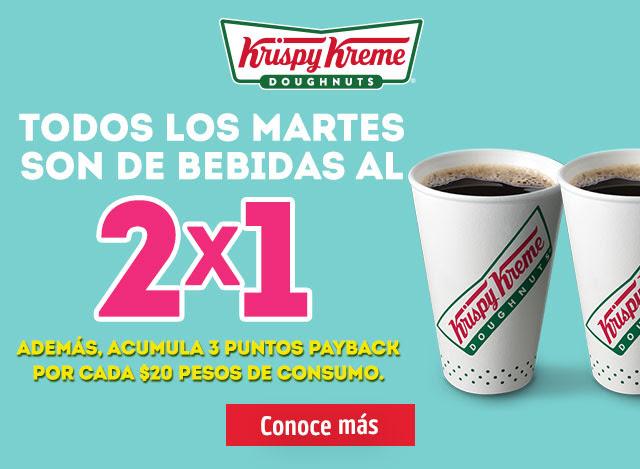 Krispy Kreme:  Todos los martes bebidas preparadas al 2x1