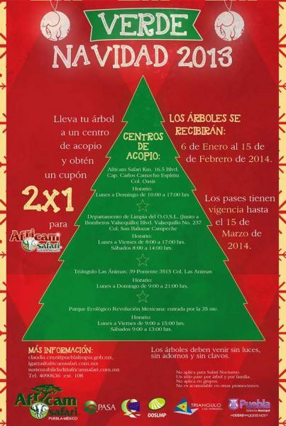 2x1 en Africam Safari reciclando árbol de Navidad
