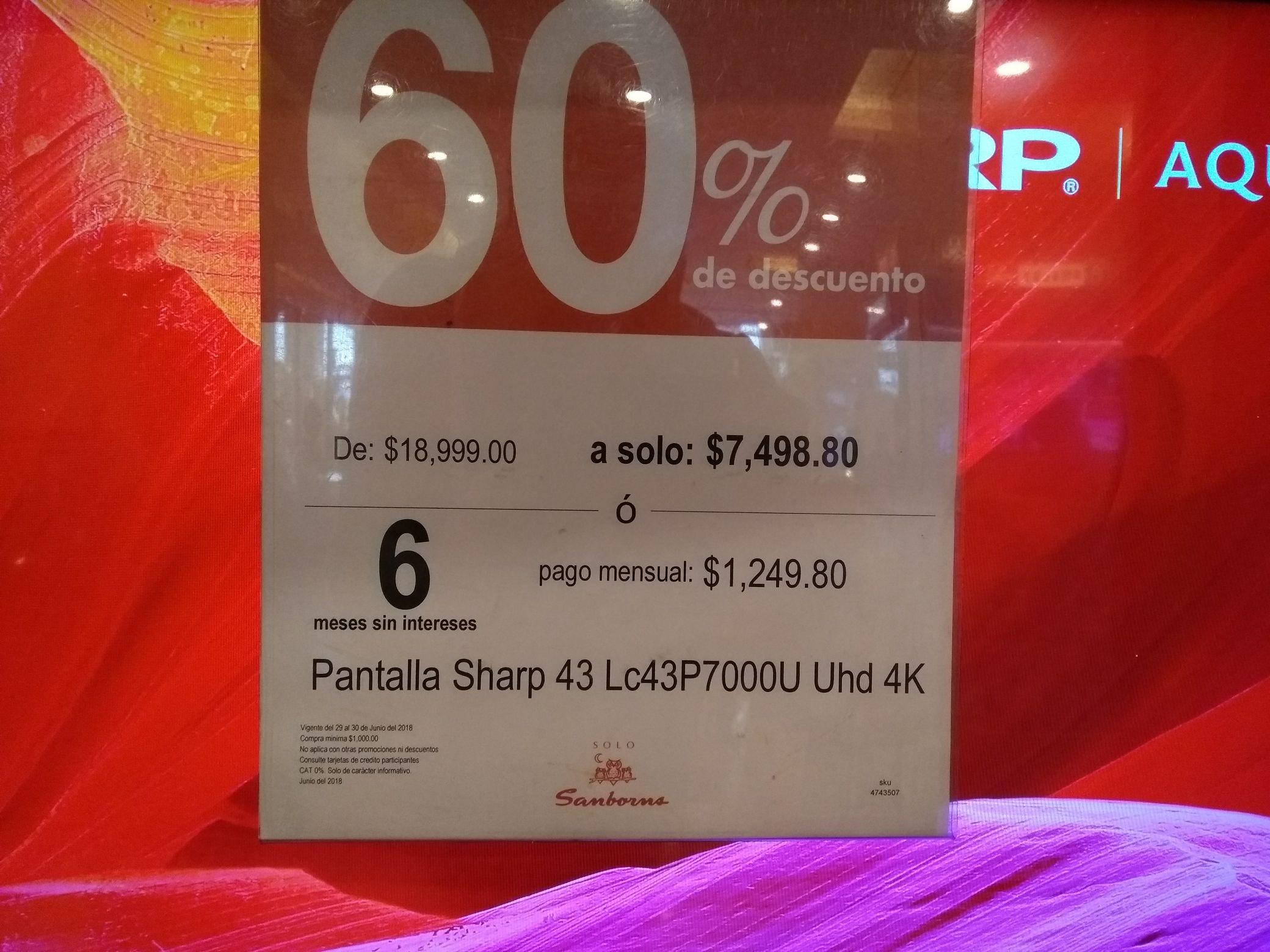 """Sanborns  Pantalla 43"""" 4K uhd Sharp a $7,499"""