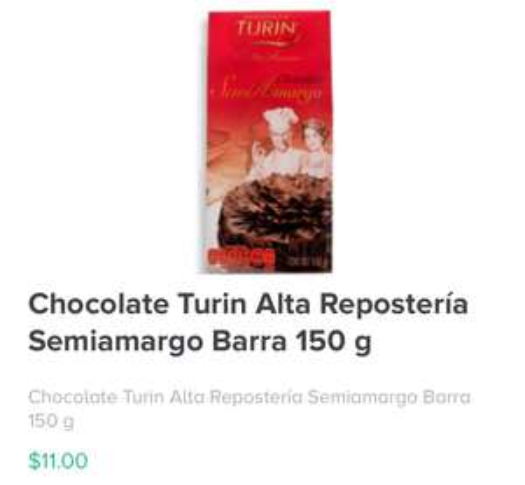 Rappi: Chocolate Turin Alta Repostería Semiamargo Barra 150 g