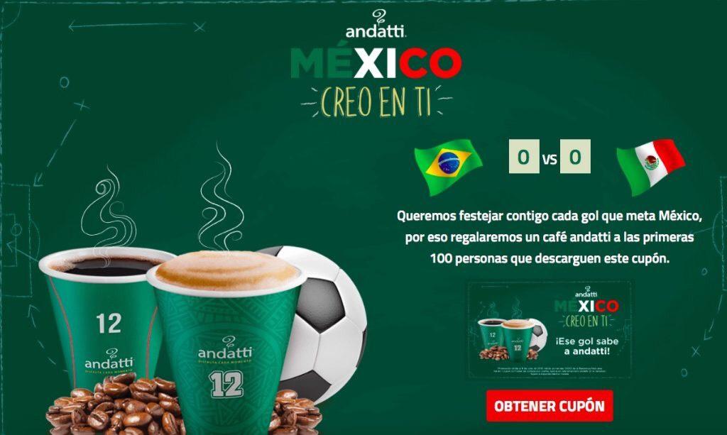 Oxxo Andatti: café GRATIS por cada gol que meta México contra Brasil