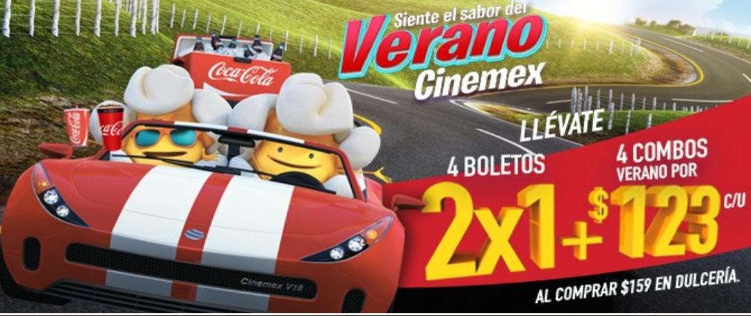 Verano Cinemex 2018: 4 boletos 2×1 y 4 combos por $123 comprando $159 o más en Dulcería