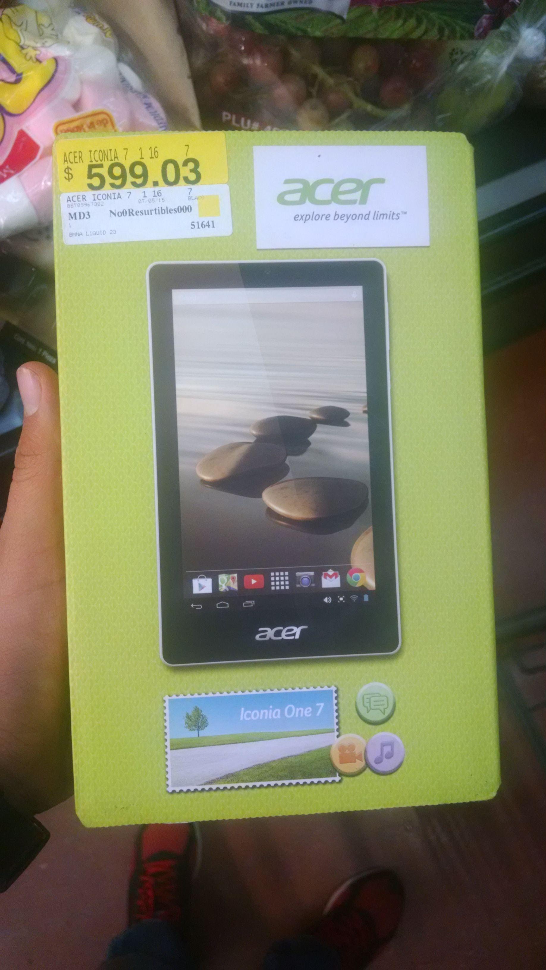 Walmart: Acer iconia one 7 tercera liquidación a $599.03