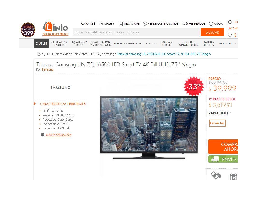 Linio: Televisor Samsung UN-75JU6500 LED Smart TV 4K Full UHD 75' $33,999