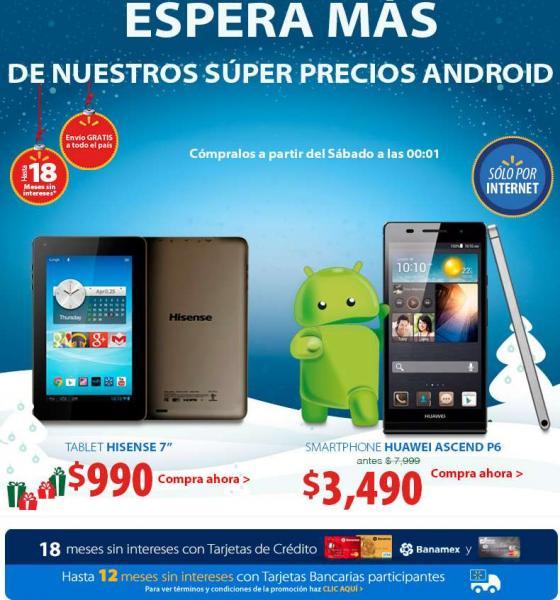"""Walmart: Huawei Ascend P6 3,490 y tablet Hisense 7"""" $990"""