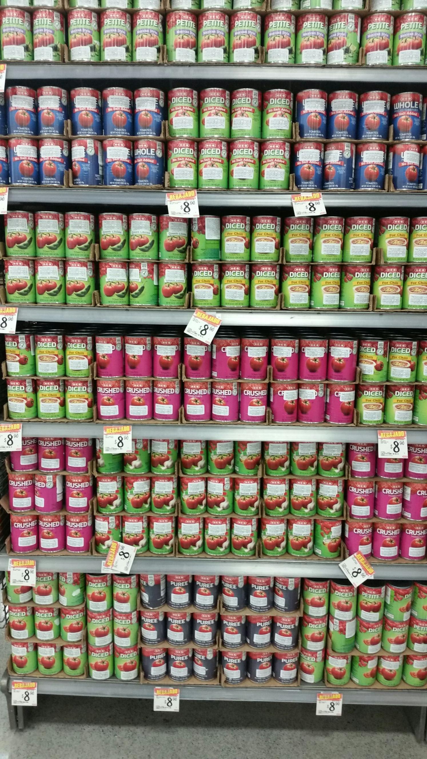 HEB: Variedad de tomates en lata de 340 g en $8.90
