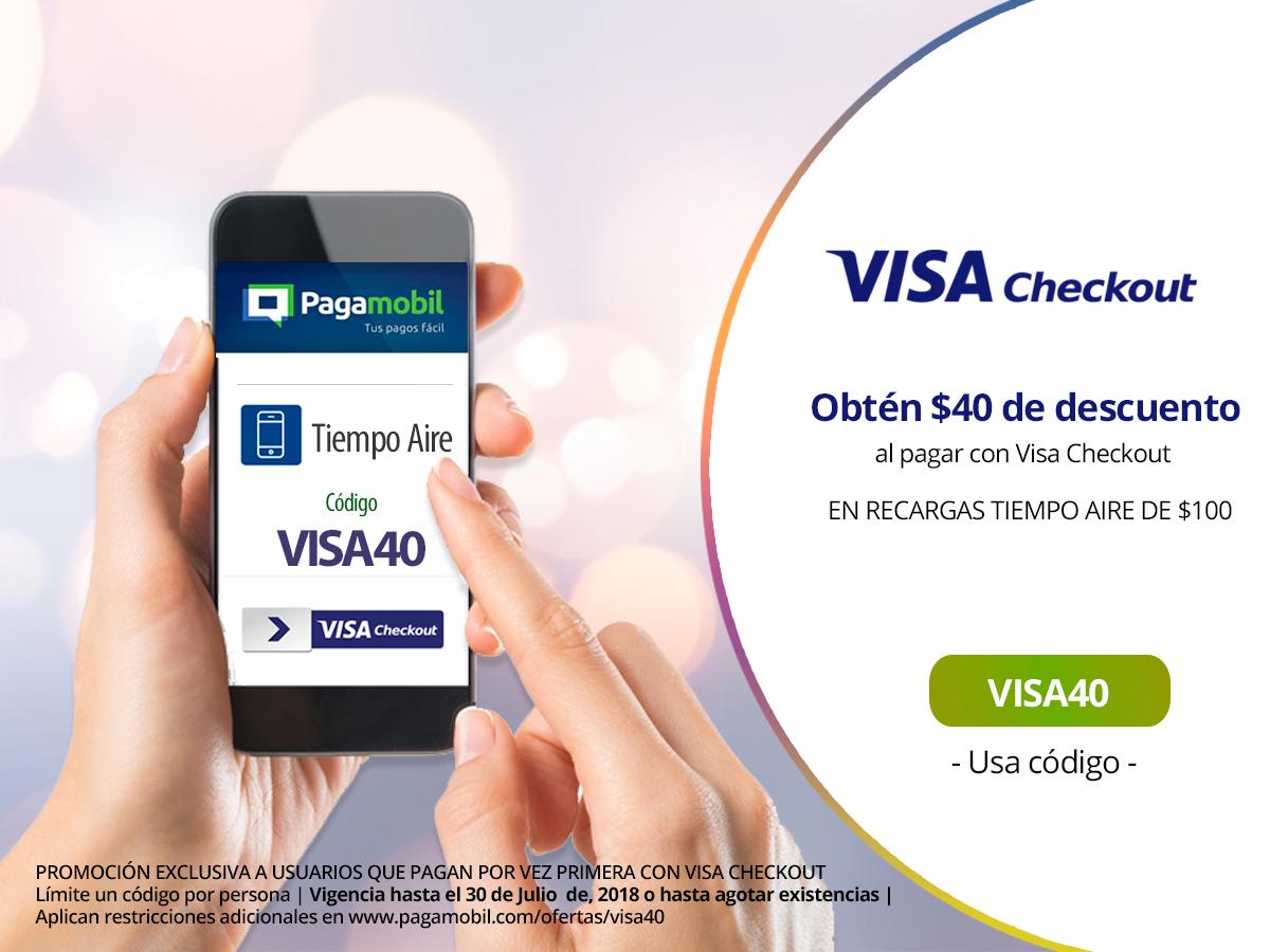 Pagamobil | Obtén $40 MXN en tu Recarga de Tiempo Aire con Visa Checkout! (Usuarios nuevos)