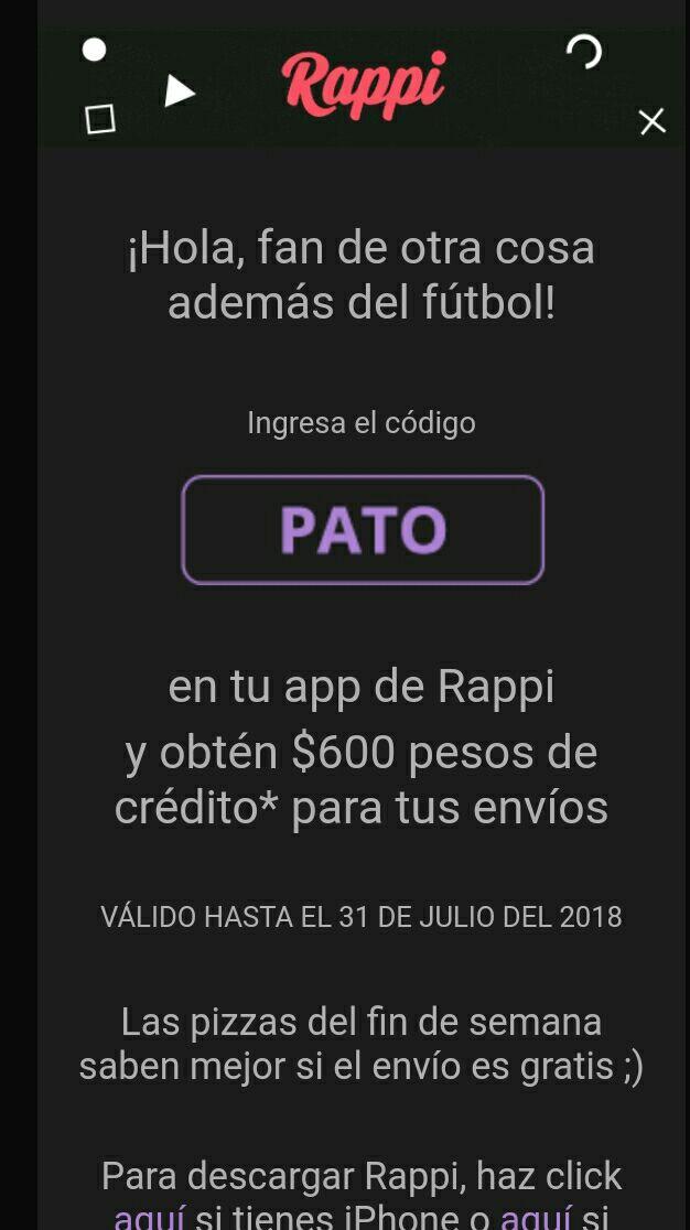 Rappi: $600 pesos en envíos para  rappi usando el código PATO (Nuevos usuarios)