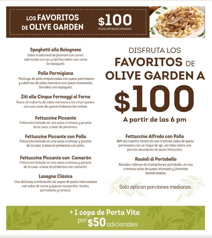 Olive Garden: Disfruta los favoritos a $100 después de las 6 pm