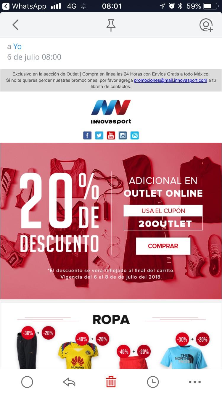 Innovasport: outlet 20% descuento adicional