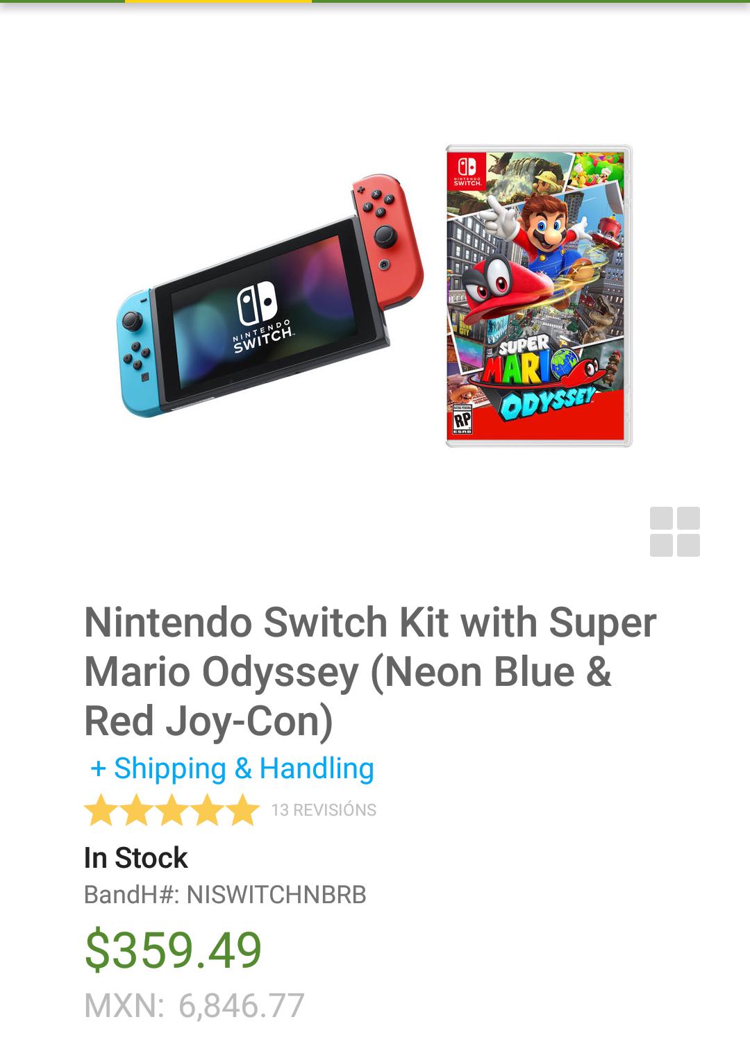 B&H: Nintendo switch neon más Mario Oddysey $7,220