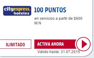 100 puntos Payback al hospedarte Hoteles City Express