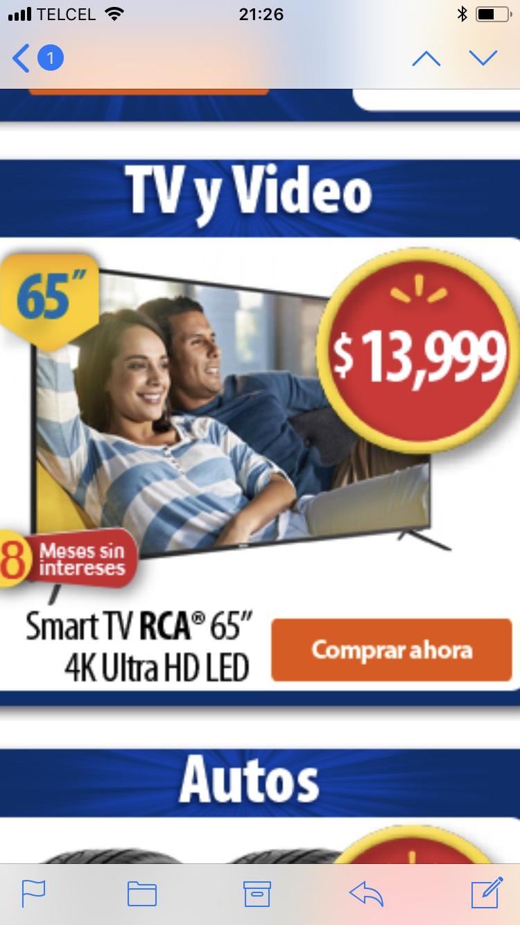"Walmart: Pantalla RCA 65"" 4K Ultra HD Smart TV LED RTV6566USM"