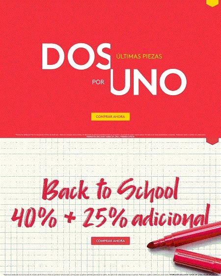 Promoda Online: 2 x 1 en útlimas piezas adicional a lo ya rebajado... Back to School 40% de descuento + 25% adicional