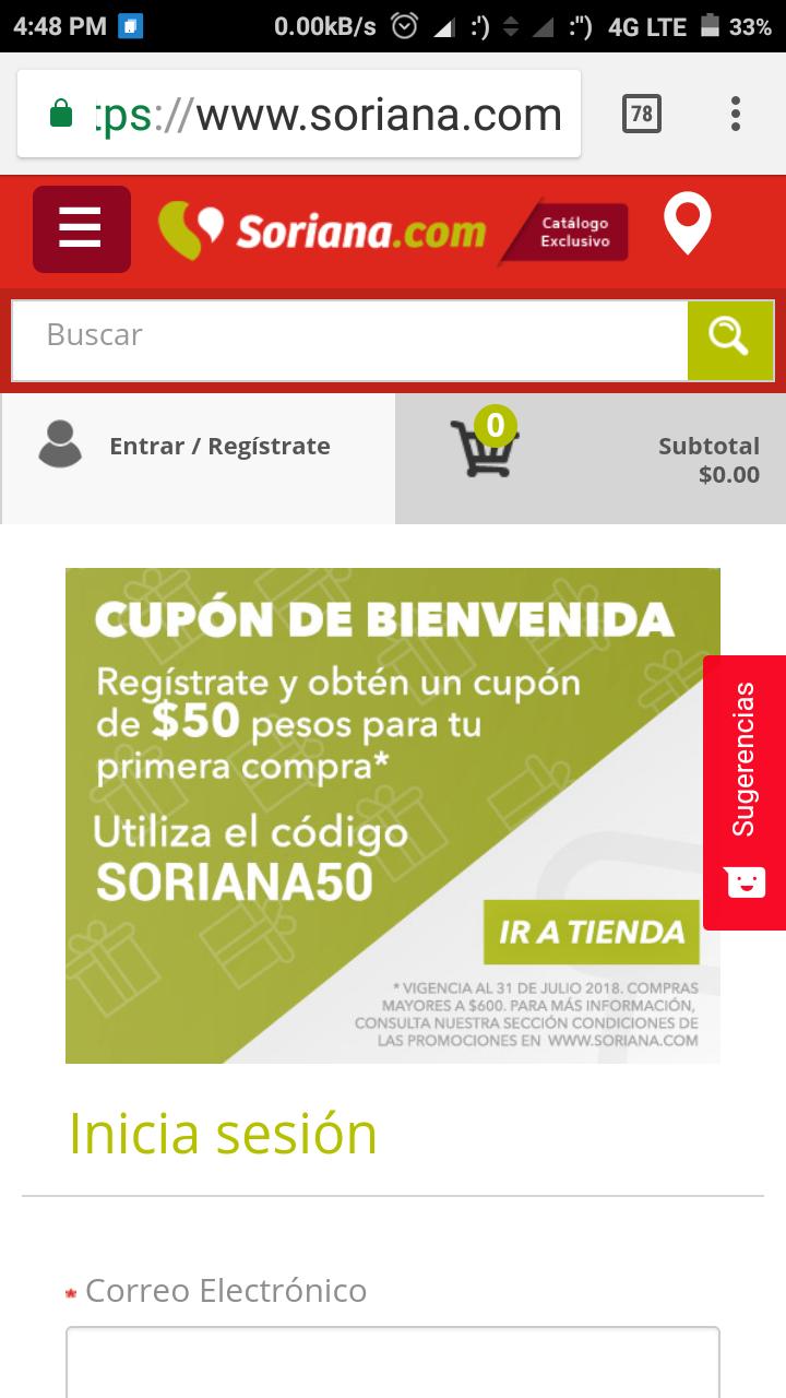 Soriana: Cupón de bienvenida para nuevos usuarios