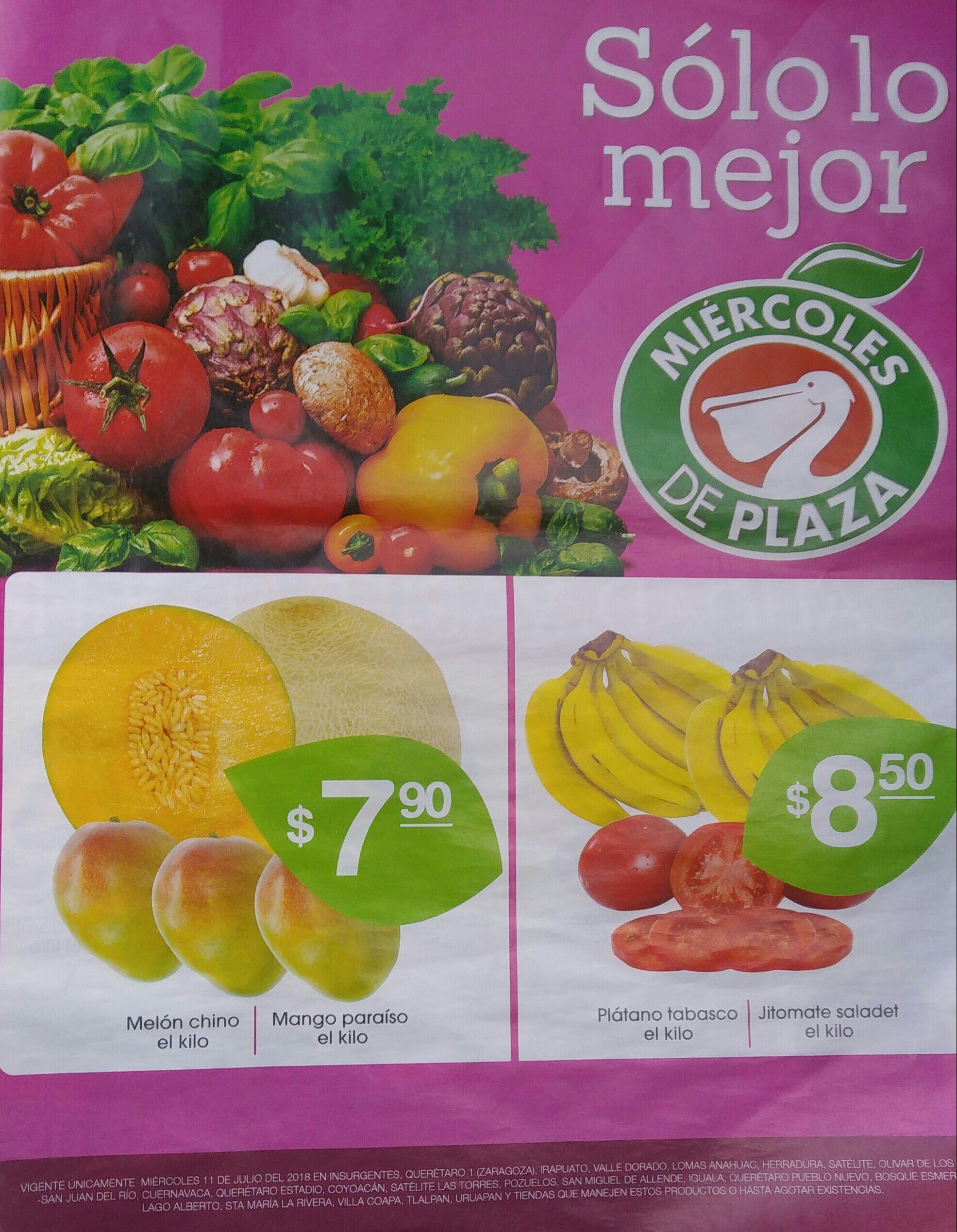 La Comer y Fresko: Miércoles de Plaza 11 Julio: Melón Chino $7.90 kg... Mango Paraíso $7.90 kg... Plátano Tabasco $8.50 kg... Jitomate Saladet $8.50 kg.