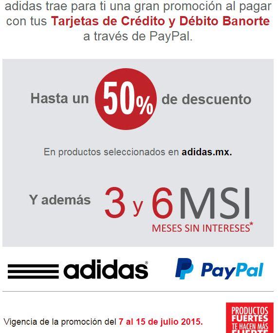 Adida.mx: 3 y 6 MSI al comprar con Banorte a través de PayPal