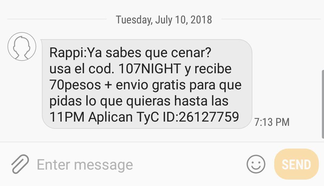 Rappi: 70 pesos menos + envío gratis (Usuarios seleccionados)