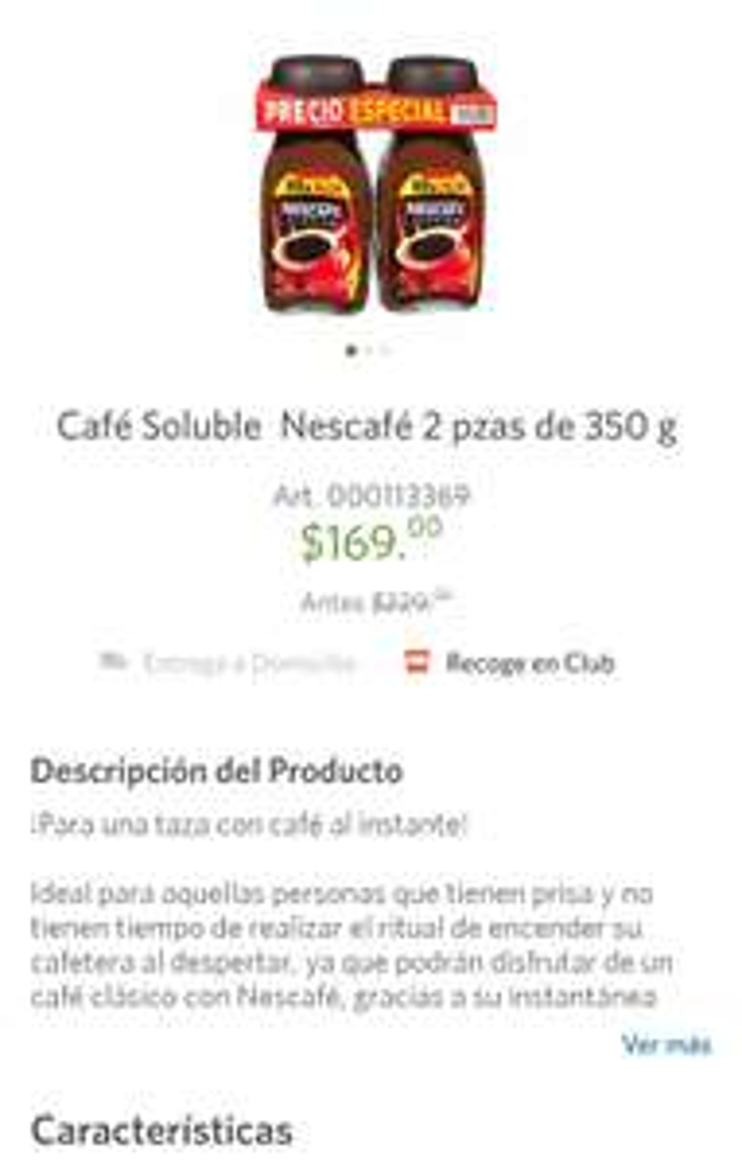 Sam's Club: Cafe soluble Nescafé 2 piezas x $169