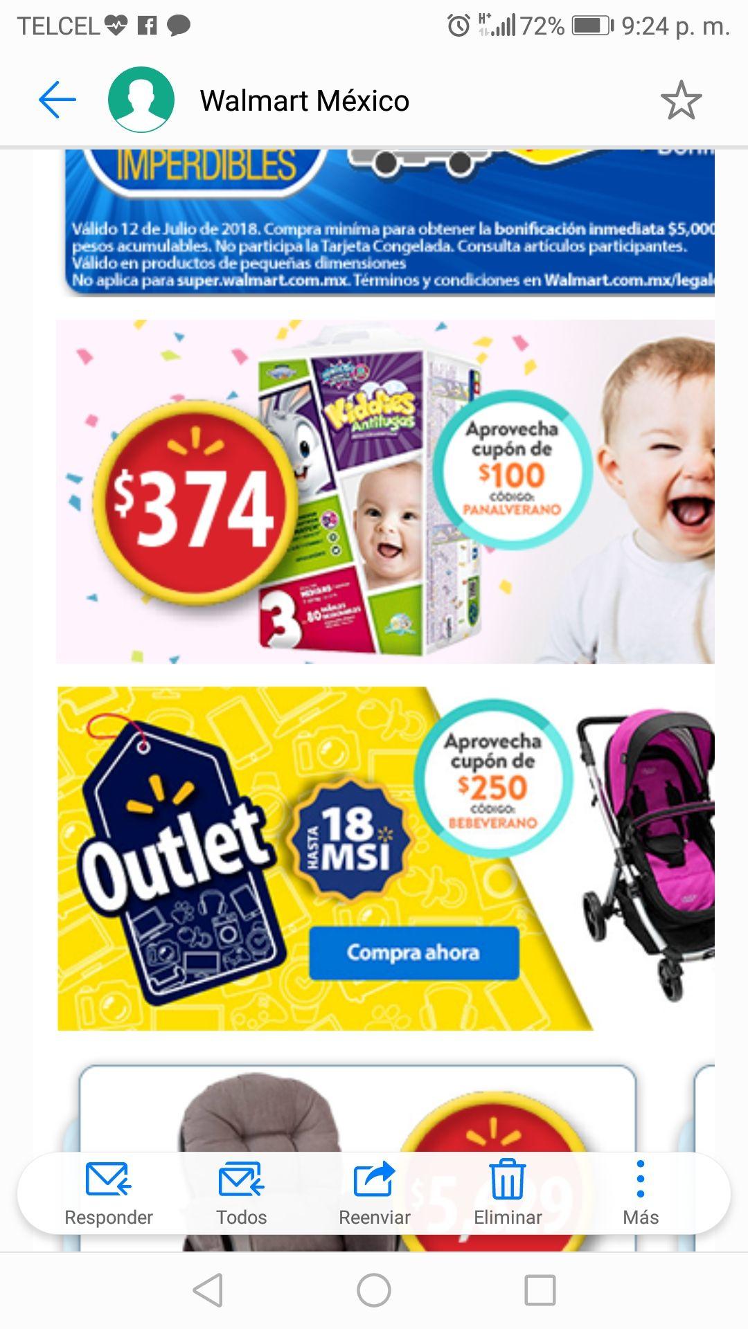 Walmart: Paquetes 3x2 y $100 de bonificación en compra de $1000 en pañales