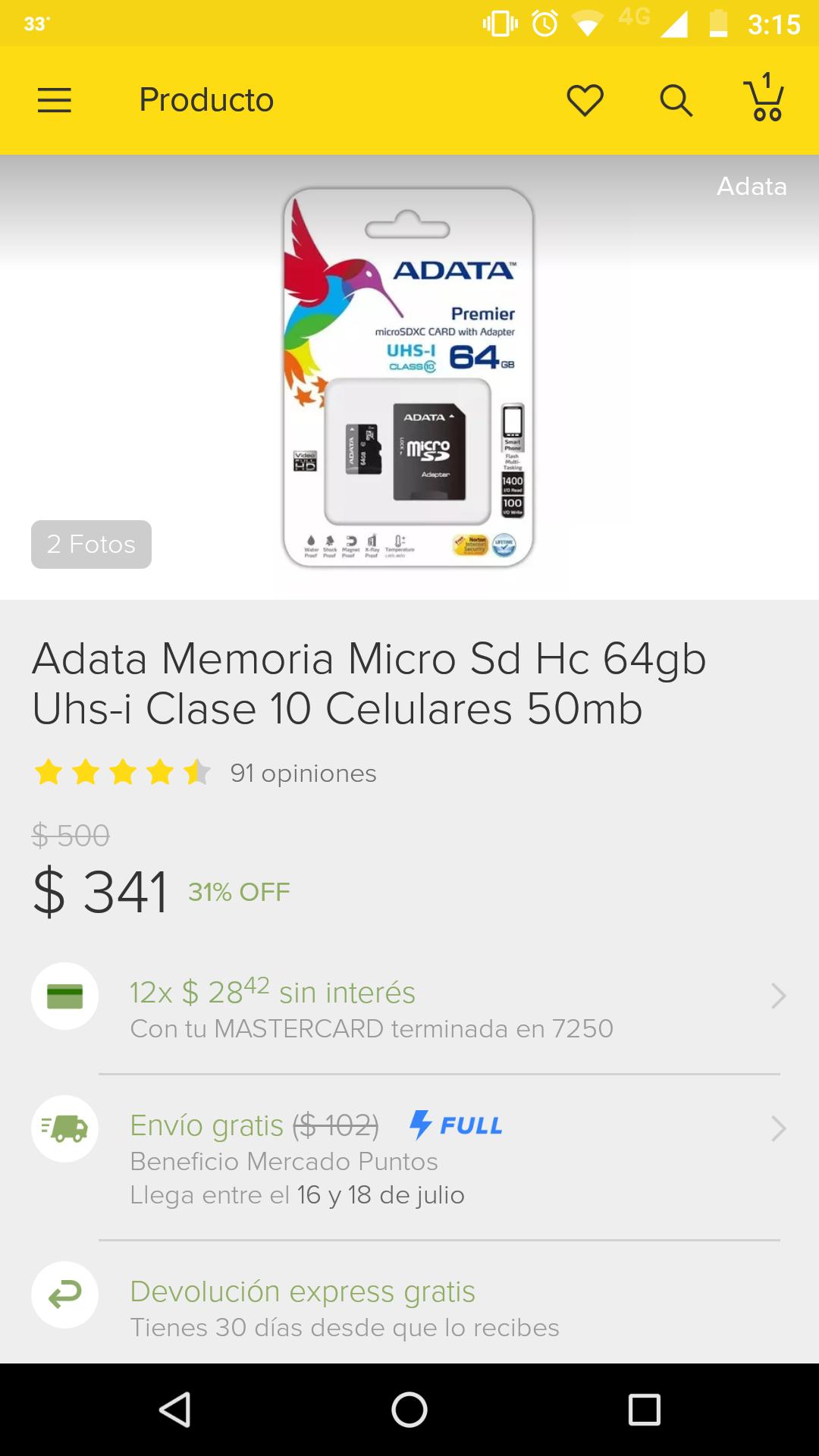 Adata en Mercado Libre: Micro SD 64gb clase 10 Adata