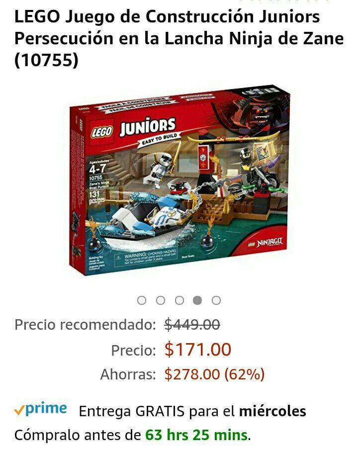 Amazon: LEGO Juego de Construcción Juniors Persecución en la Lancha Ninja de Zane (10755)