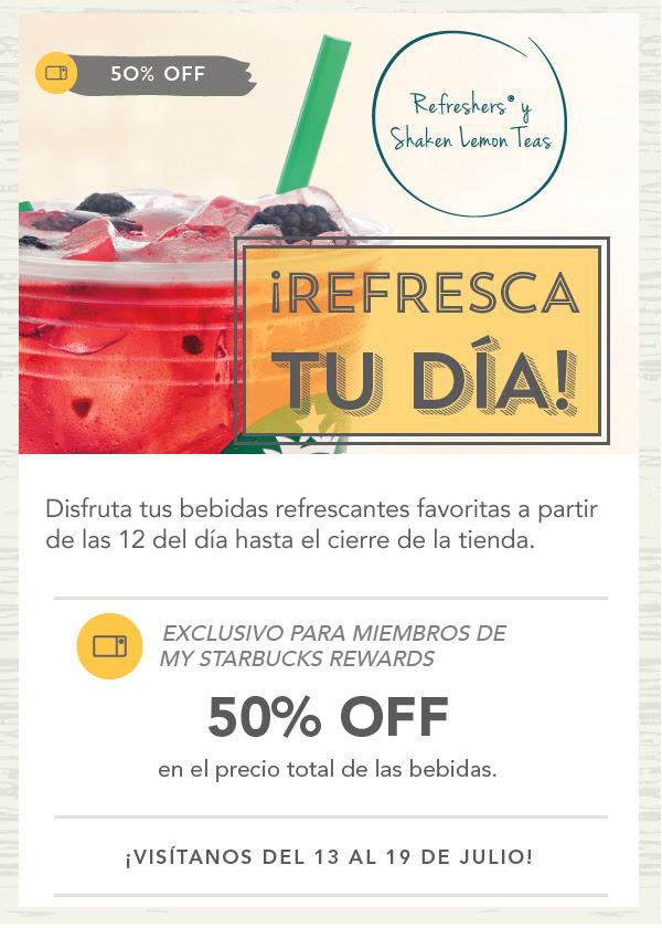 Starbucks - 50% off en bebidas refrescantes