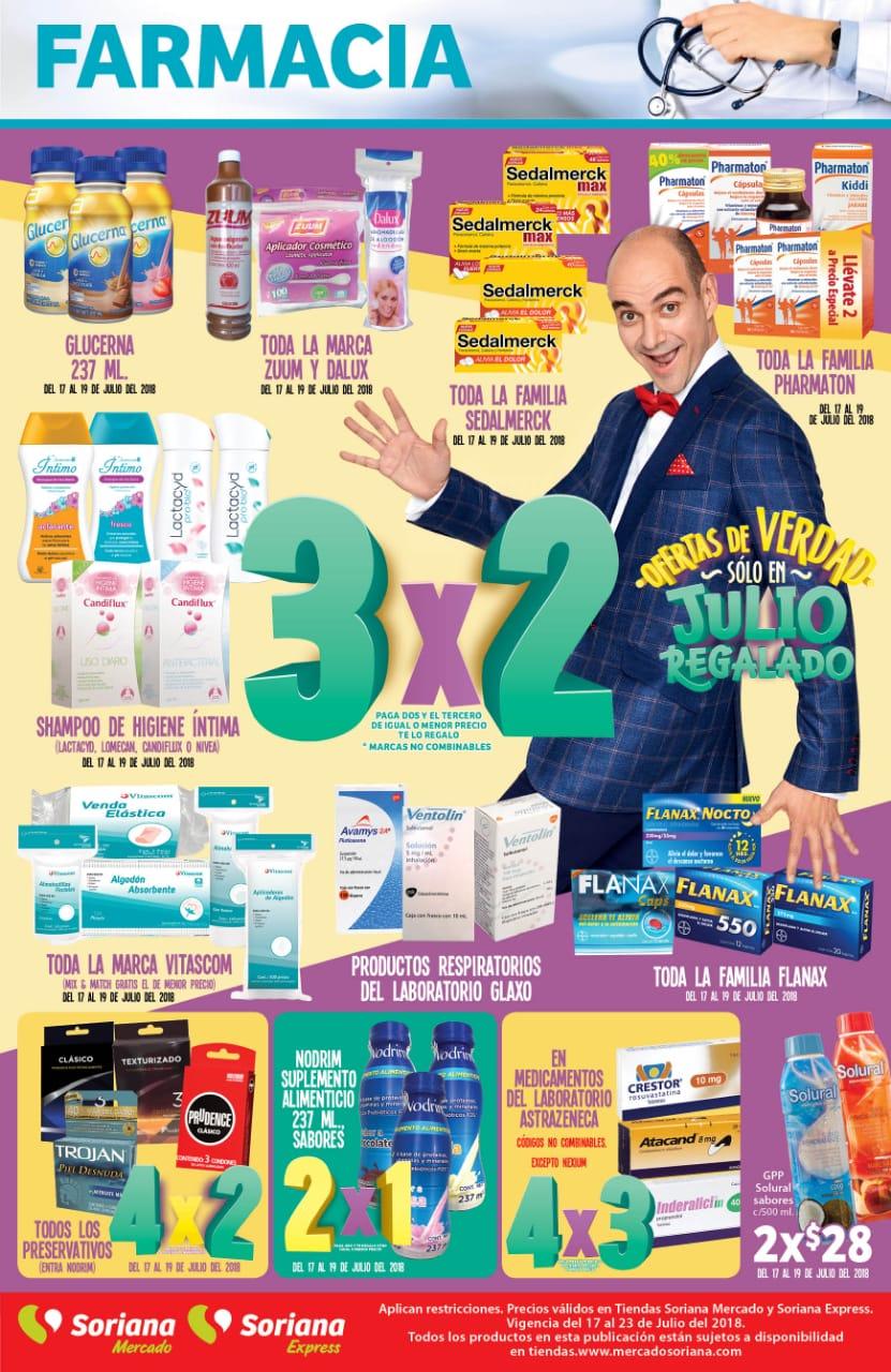 Julio Regalado 2018 Soriana: Folleto de Farmacia 4x2 Preservativos